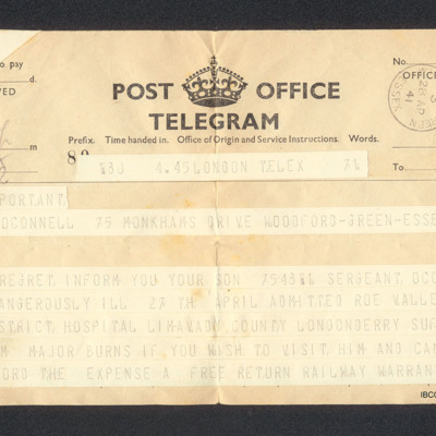 Telegram to Desmond O'Connell's father from the Royal Air Force